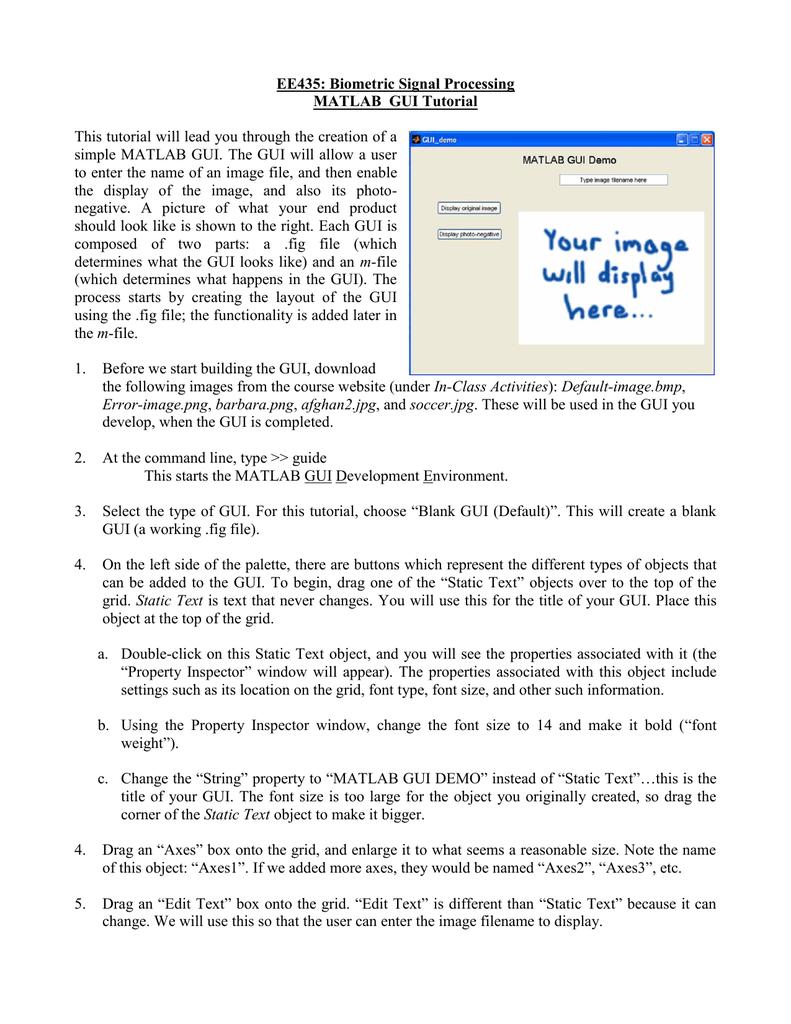 EE435: Biometric Signal Processing MATLAB GUI Tutorial
