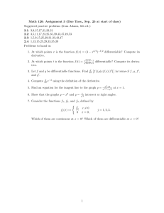 Math 120: Assignment 3 (Due Tues., Sep. 25 at start... Suggested practice problems (from Adams, 6th ed.):