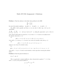 Math 257/316 Assignment 1 Solutions