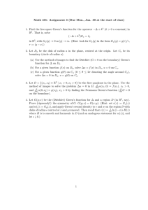 Math 401: Assignment 3 (Due Mon., Jan. 30 at the... 1. Find the free-space Green's function for the operator −∆ +...