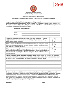 Personal Information Disclosure for Returning Authorized Adults Participating in Youth Programs