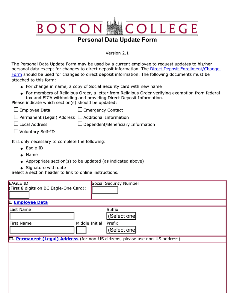 Personal Data Update Form