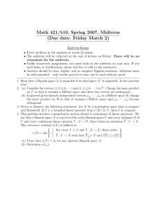 Math 421/510, Spring 2007, Midterm (Due date: Friday March 2) Instructions