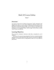 Math 105 Course Outline Overview Week 7