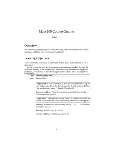 Math 105 Course Outline Overview Week 12