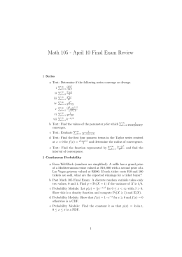 Math 105 - April 10 Final Exam Review