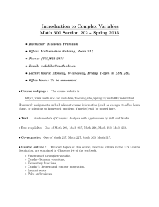 Introduction to Complex Variables Math 300 Section 202 - Spring 2015