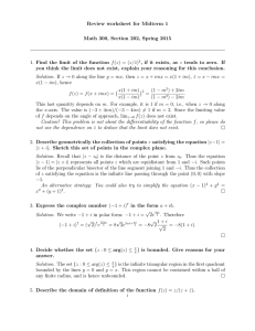 Review worksheet for Midterm 1 Math 300, Section 202, Spring 2015
