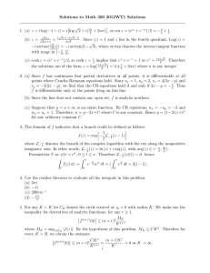 Solutions to Math 300 2012WT1 Solutions √ log