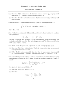 Homework 3 - Math 321, Spring 2015 } of polynomials