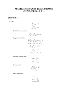 MATH 215/255 QUIZ 1: SOLUTIONS (SUMMER 2015, T1) QUESTION 1