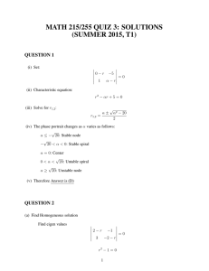 MATH 215/255 QUIZ 3: SOLUTIONS (SUMMER 2015, T1) QUESTION 1