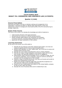 Course Outline 2016 BUSACT 701: COMMERCIAL AND CORPORATE LAW (15 POINTS)