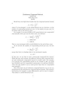 Continuous Compound Interest MATH 104 Mark Mac Lean 2013W