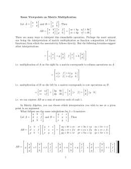 Some Viewpoints on Matrix Multiplication  A B