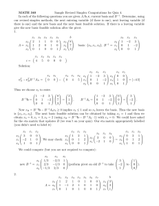 MATH 340 Sample Revised Simplex Computations for Quiz 4.