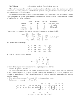 MATH 340 A Sensitivity Analysis Example from lectures