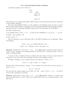Math 340 Karush-Kuhn-Tucker Conditions A nonlinear program can be written as :