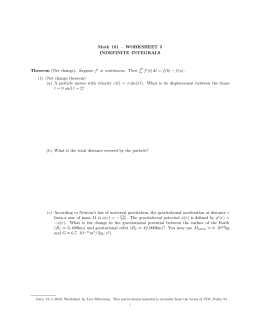 Math 101 – WORKSHEET 3 THE DEFINITE INTEGRAL P (1) (Sums) Given