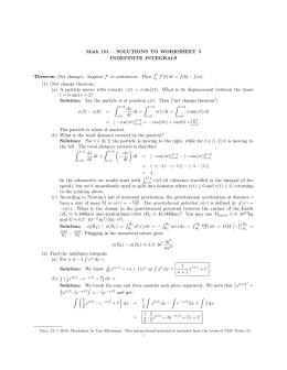 Math 101 – WORKSHEET 5 INDEFINITE INTEGRALS ´ Theorem (Net change ...