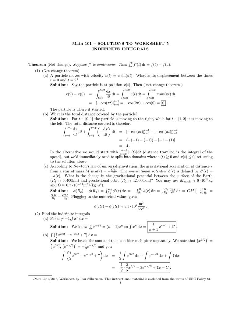 Math 101 Solutions To Worksheet 5 Indefinite Integrals