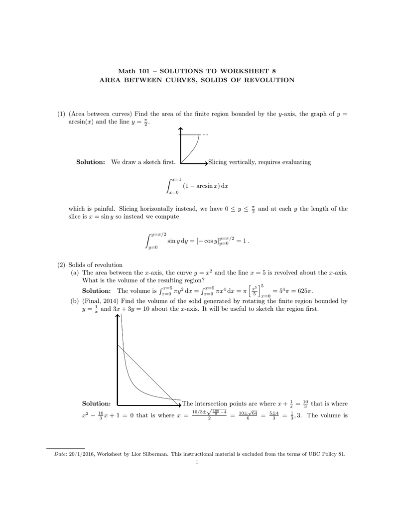 Math 101 – SOLUTIONS TO WORKSHEET 8