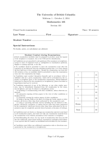 The University of British Columbia Midterm 1 - October 2, 2014