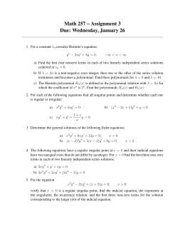 Math 257 – Assignment 3 Due: Wednesday, January 26