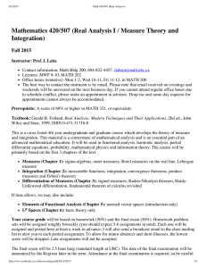 Mathematics 420/507 (Real Analysis I / Measure Theory and Integration) Fall 2015
