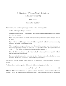 A Guide to Written Math Solutions Math 110 Section 002 Matt Coles