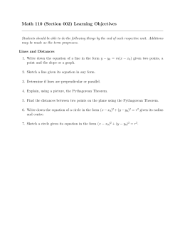 Math 110 (Section 002) Learning Objectives
