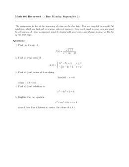 Math 190 Homework 1: Due Monday September 21