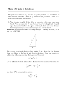 Math 190 Quiz 4: Solutions