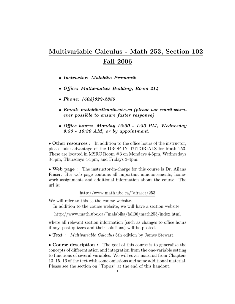 Multivariable Calculus - Math 253, Section 102 Fall 2006