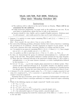 Math 440/508, Fall 2008, Midterm (Due date: Monday October 20) Instructions
