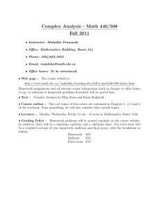Complex Analysis - Math 440/508 Fall 2011