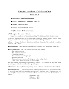Complex Analysis - Math 440/508 Fall 2014
