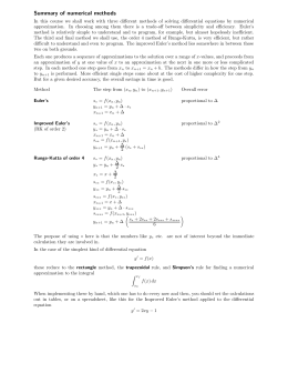 Summary of numerical methods
