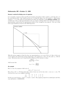 Mathematics 307|October 11, 1995 Newton's method for nding roots of equations