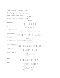 Mathematics 307|December 6, 1995 Generalized eigenvalues and conservative systems