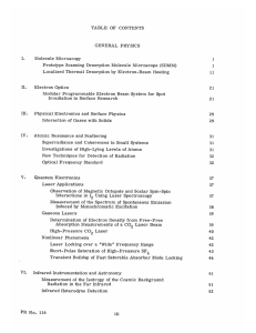 TABLE  OF  CONTENTS GENERAL  PHYSICS I. Molecule  Microscopy