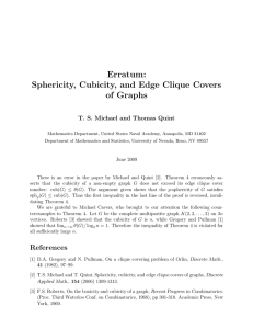 Erratum: Sphericity, Cubicity, and Edge Clique Covers of Graphs