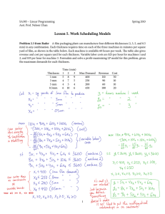 Lesson 5. Work Scheduling Models