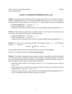 Lesson 4. Conditional Probability Review, cont.