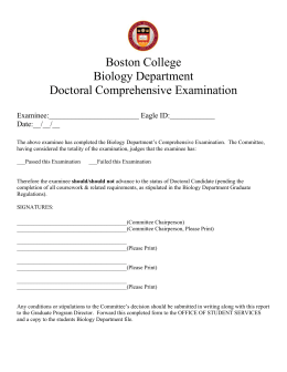 Boston College Biology Department Doctoral Comprehensive Examination