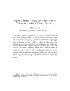 Negative Energy Transitions to Instability in Continuum Models of Matter Dynamics