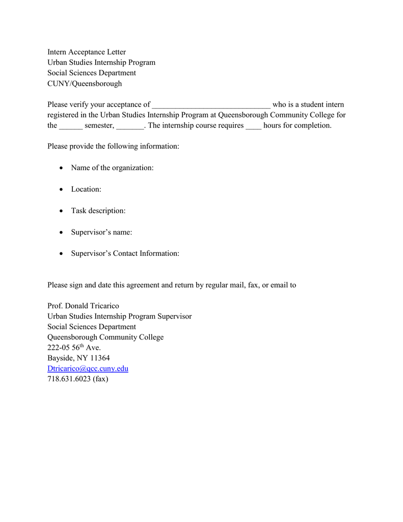 Intern Acceptance Letter Urban Studies Internship Program