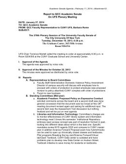 Report To QCC Academic Senate On UFS Plenary Meeting