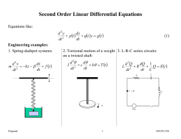 Second Order Linear Differential Equations ( )