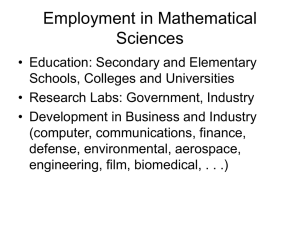 Employment in Mathematical Sciences